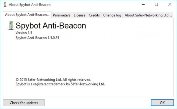 Spybot Anti-Beacon for Windows 10 1.5