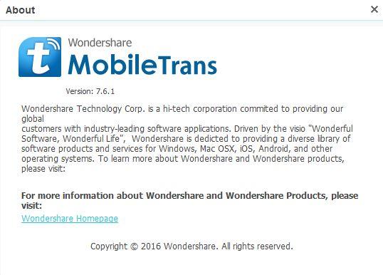 Wondershare MobileTrans 7.6.1.480