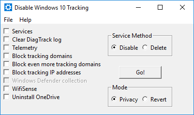Disable Windows 10 Tracking 3.1.2