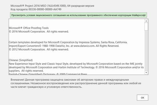 Microsoft Project Professional 2016 16.0.4549.1000