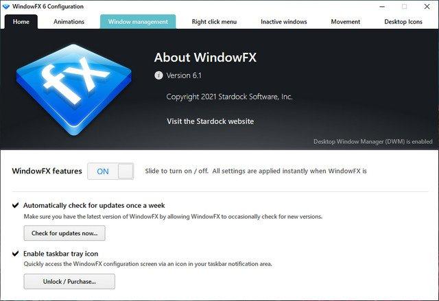 Stardock WindowFX 6.12